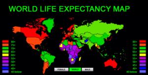 विश्व जीवन प्रत्याशा-नक्शे-